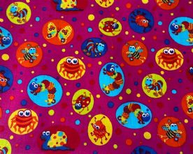 100% Cotton Creepy Crawlies Print on Fuchsia Pink Fabric x 0.5m